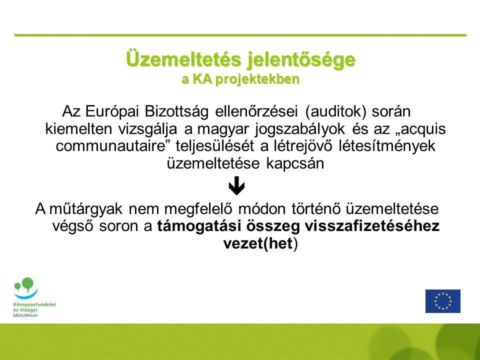 """Üzemeltetés jelentősége a KA projektekben Az Európai Bizottság ellenőrzései (auditok) során kiemelten vizsgálja a magyar jogszabályok és az """"acquis co"""
