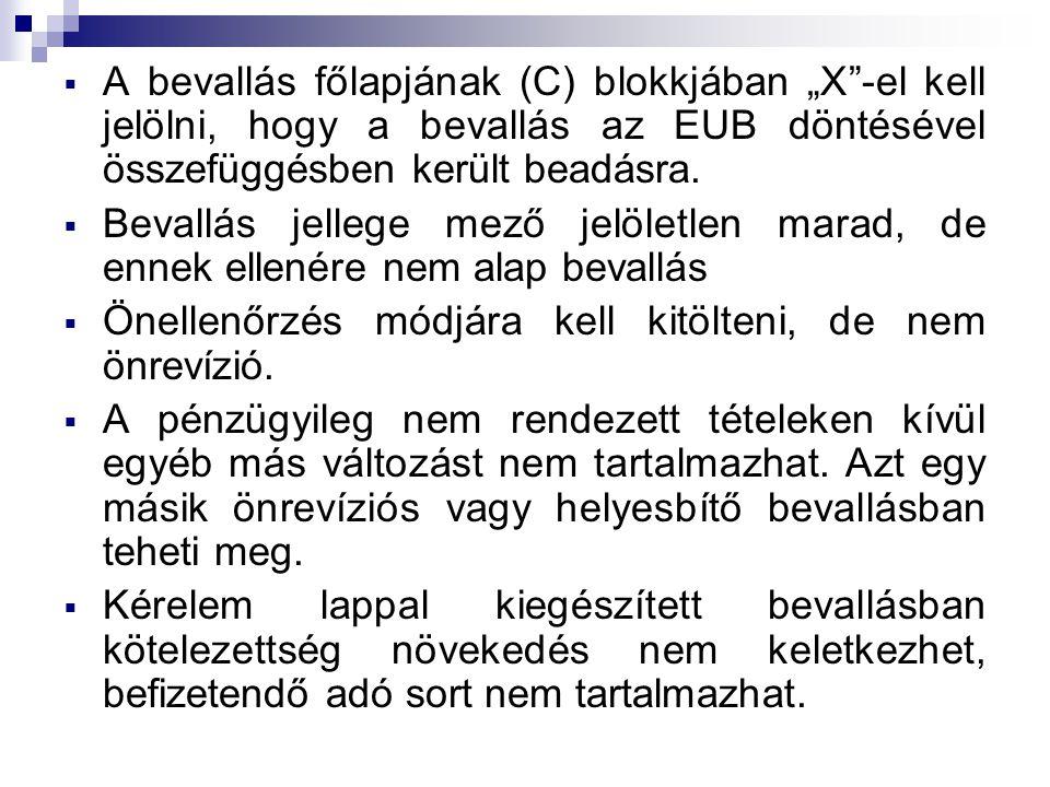 """ A bevallás főlapjának (C) blokkjában """"X -el kell jelölni, hogy a bevallás az EUB döntésével összefüggésben került beadásra."""