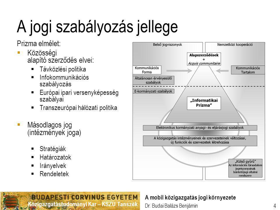 Közigazgatástudományi Kar – KSZU Tanszék Dr. Budai Balázs Benjámin A mobil közigazgatás jogi környezete 4 A jogi szabályozás jellege Prizma elmélet: 