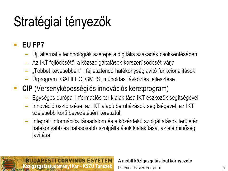 Közigazgatástudományi Kar – KSZU Tanszék Dr. Budai Balázs Benjámin A mobil közigazgatás jogi környezete 5 Stratégiai tényezők  EU FP7 –Új, alternatív