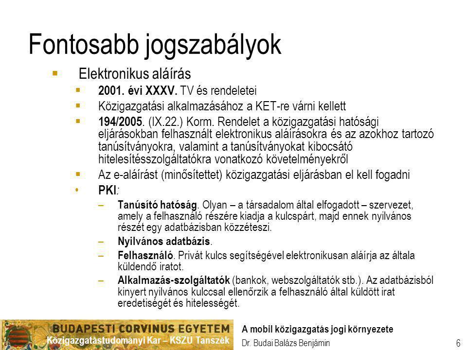 Közigazgatástudományi Kar – KSZU Tanszék Dr. Budai Balázs Benjámin A mobil közigazgatás jogi környezete 6 Fontosabb jogszabályok  Elektronikus aláírá