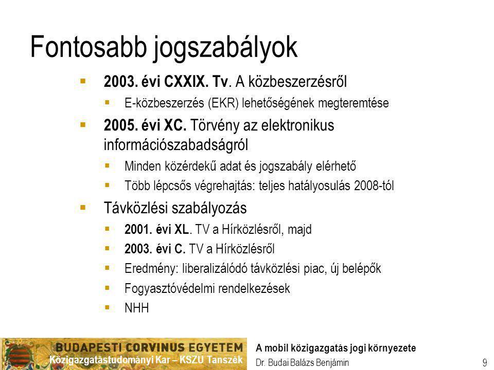 Közigazgatástudományi Kar – KSZU Tanszék Dr. Budai Balázs Benjámin A mobil közigazgatás jogi környezete 9 Fontosabb jogszabályok  2003. évi CXXIX. Tv