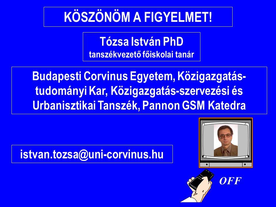 Tózsa István PhD tanszékvezető főiskolai tanár KÖSZÖNÖM A FIGYELMET! Budapesti Corvinus Egyetem, Közigazgatás- tudományi Kar, Közigazgatás-szervezési