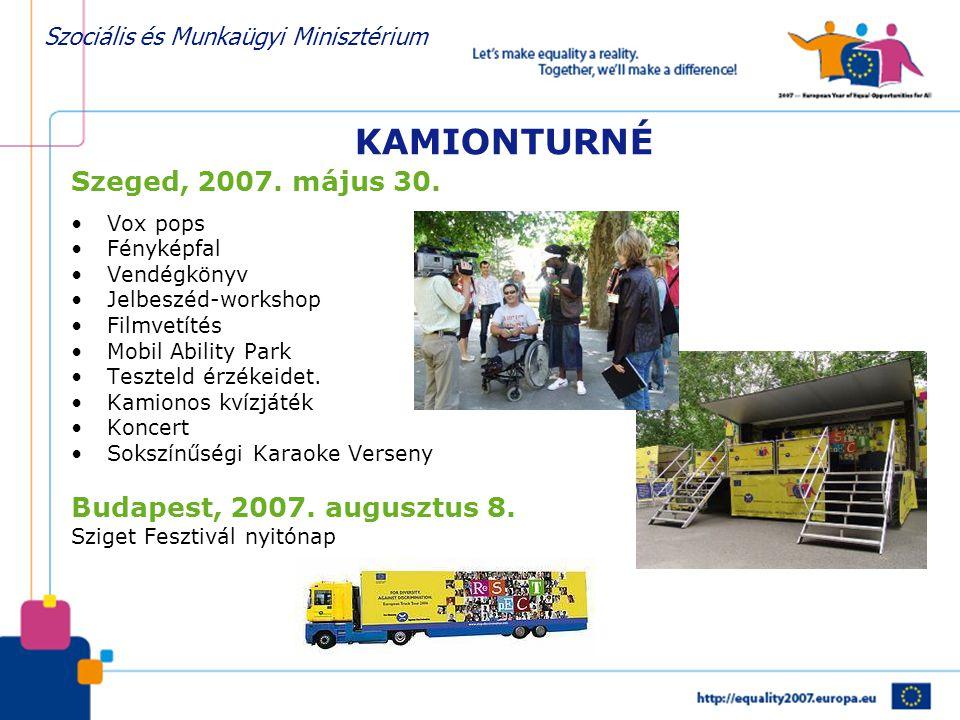 Szociális és Munkaügyi Minisztérium KAMIONTURNÉ Szeged, 2007. május 30. •Vox pops •Fényképfal •Vendégkönyv •Jelbeszéd-workshop •Filmvetítés •Mobil Abi