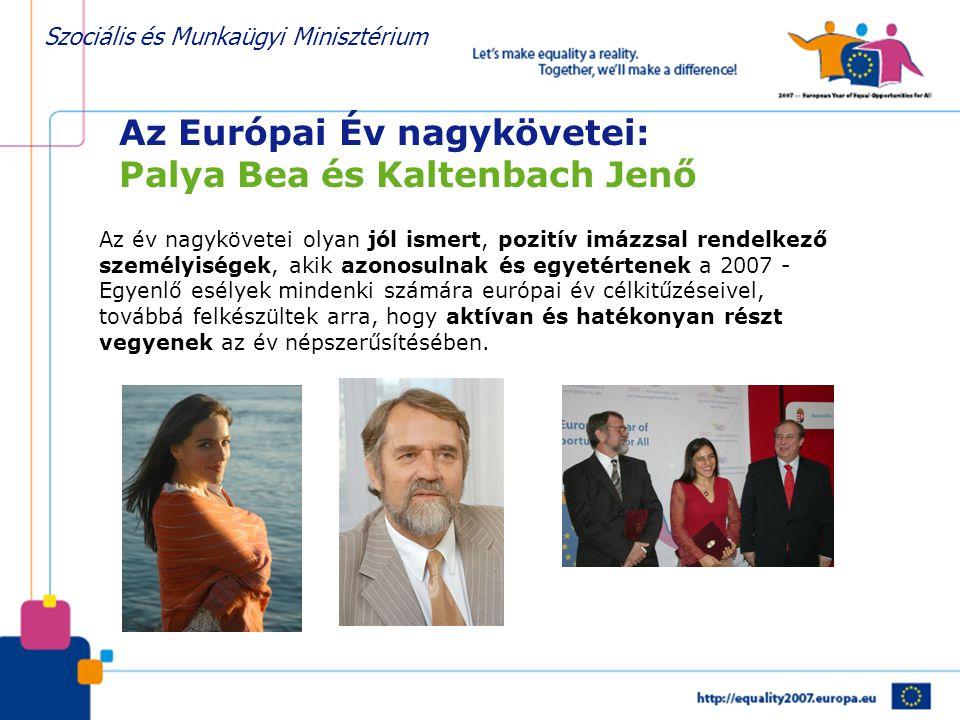 Szociális és Munkaügyi Minisztérium Az Európai Év nagykövetei: Palya Bea és Kaltenbach Jenő Az év nagykövetei olyan jól ismert, pozitív imázzsal rende