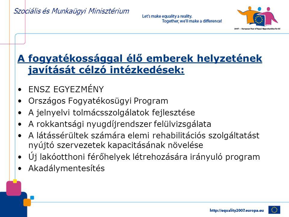 Szociális és Munkaügyi Minisztérium A fogyatékossággal élő emberek helyzetének javítását célzó intézkedések: •ENSZ EGYEZMÉNY •Országos Fogyatékosügyi