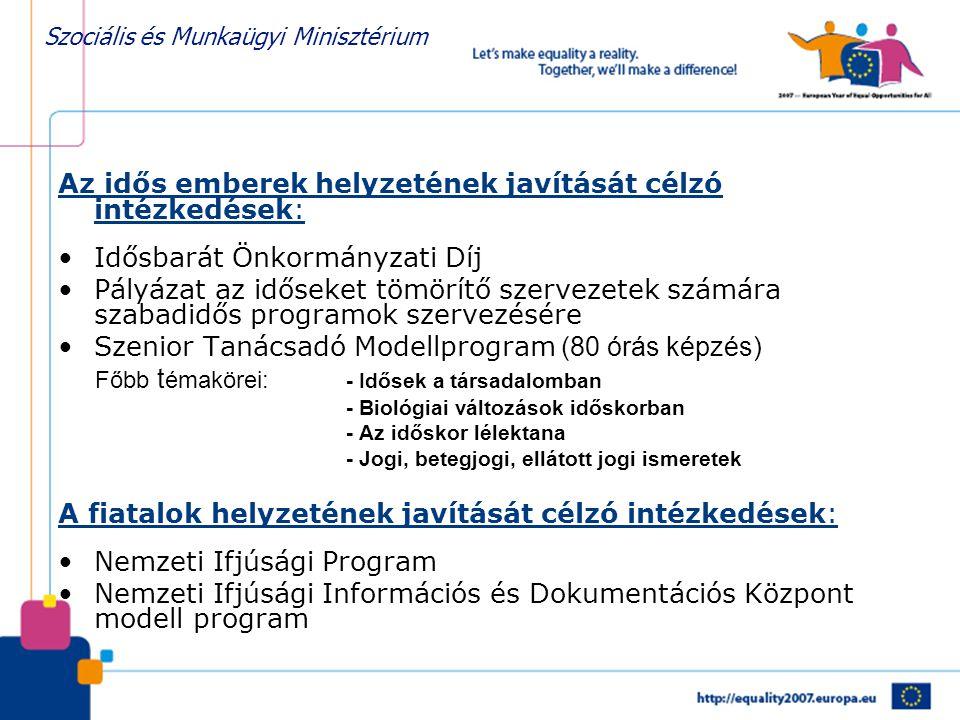 Szociális és Munkaügyi Minisztérium Az idős emberek helyzetének javítását célzó intézkedések: •Idősbarát Önkormányzati Díj •Pályázat az időseket tömör
