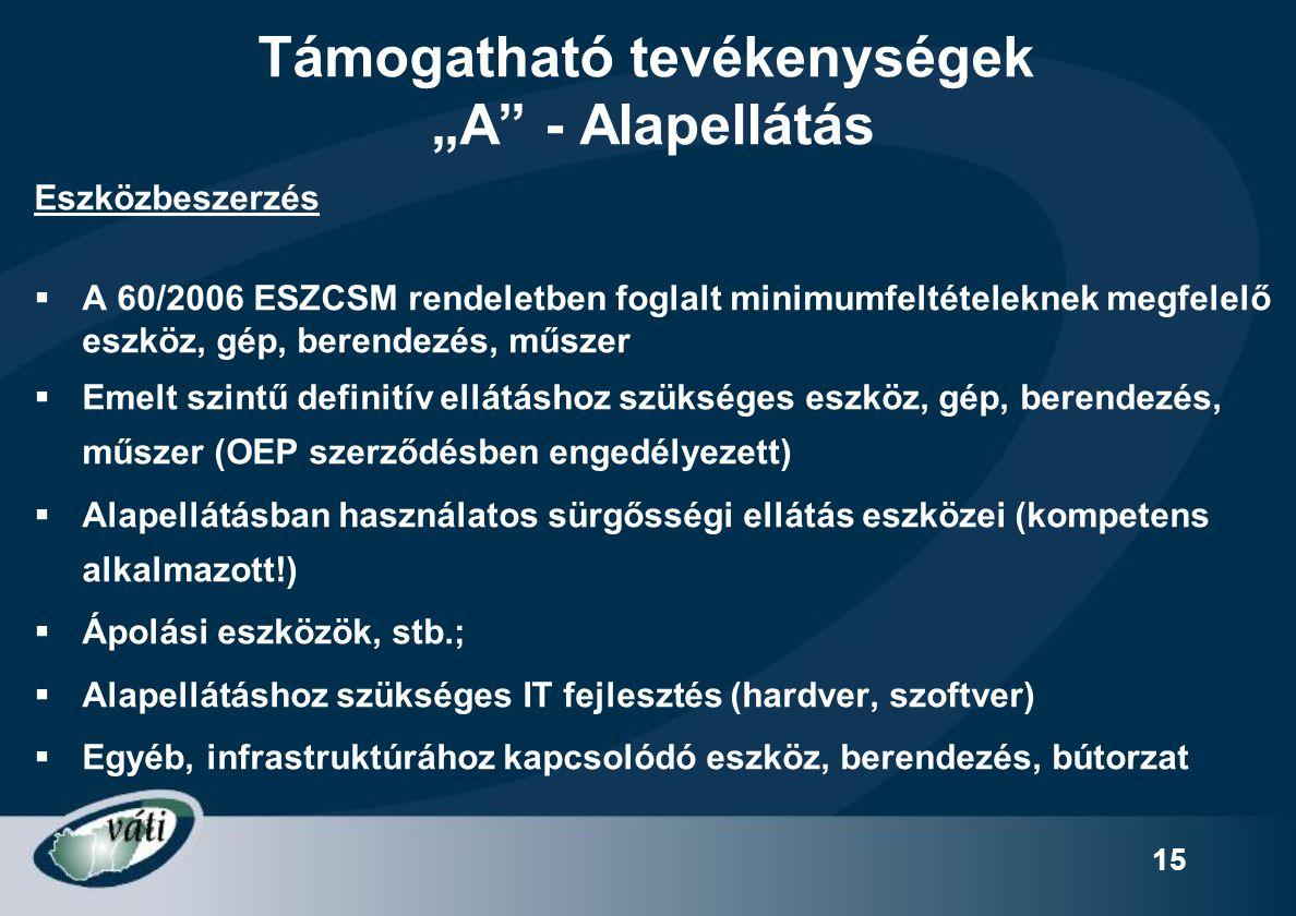 """15 Támogatható tevékenységek """"A"""" - Alapellátás Eszközbeszerzés  A 60/2006 ESZCSM rendeletben foglalt minimumfeltételeknek megfelelő eszköz, gép, bere"""