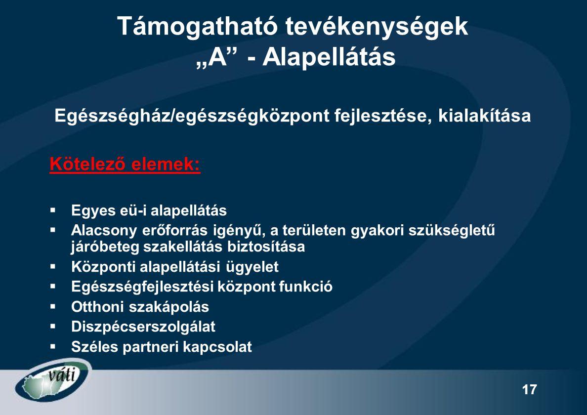"""17 Támogatható tevékenységek """"A"""" - Alapellátás Egészségház/egészségközpont fejlesztése, kialakítása Kötelező elemek:  Egyes eü-i alapellátás  Alacso"""