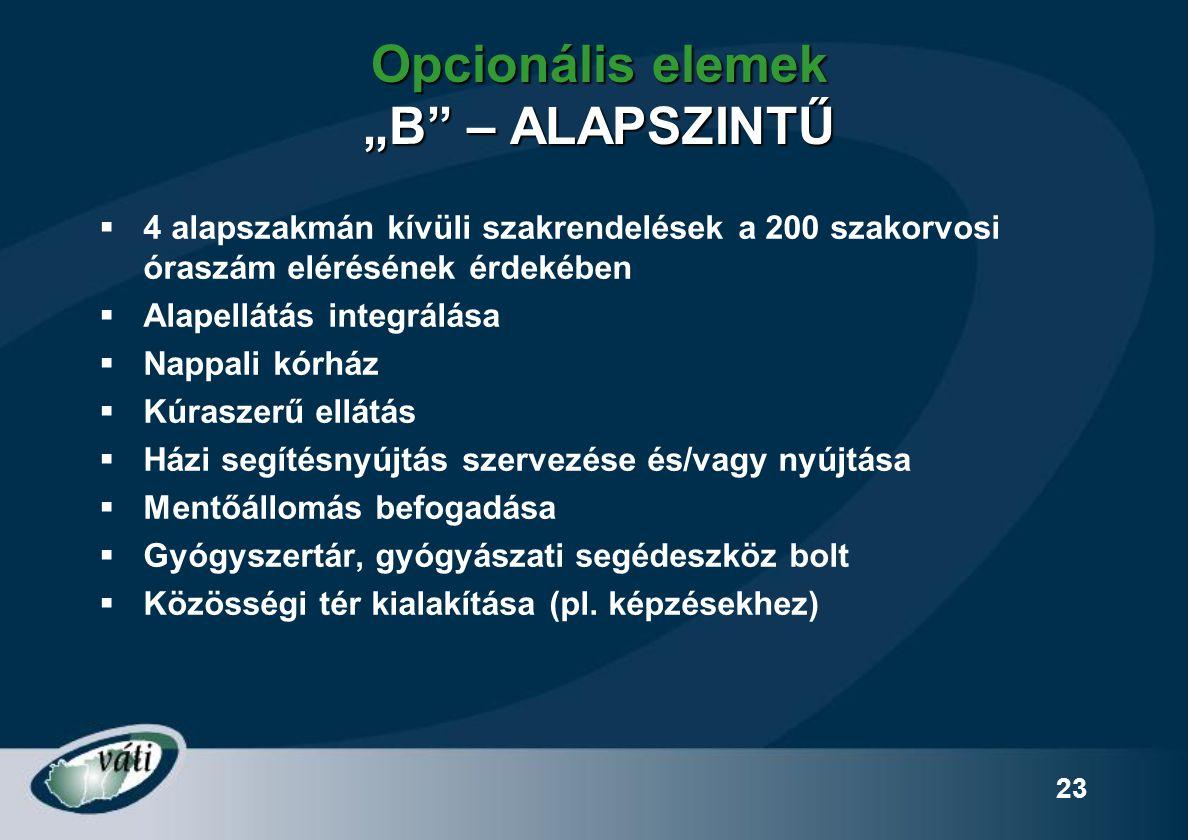 """23 Opcionális elemek """"B"""" – ALAPSZINTŰ  4 alapszakmán kívüli szakrendelések a 200 szakorvosi óraszám elérésének érdekében  Alapellátás integrálása """
