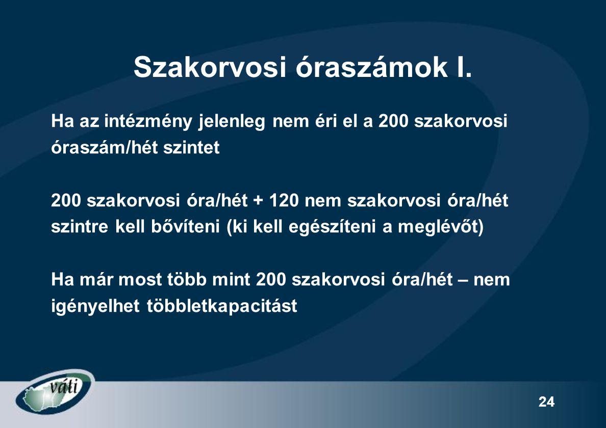 24 Szakorvosi óraszámok I. Ha az intézmény jelenleg nem éri el a 200 szakorvosi óraszám/hét szintet 200 szakorvosi óra/hét + 120 nem szakorvosi óra/hé