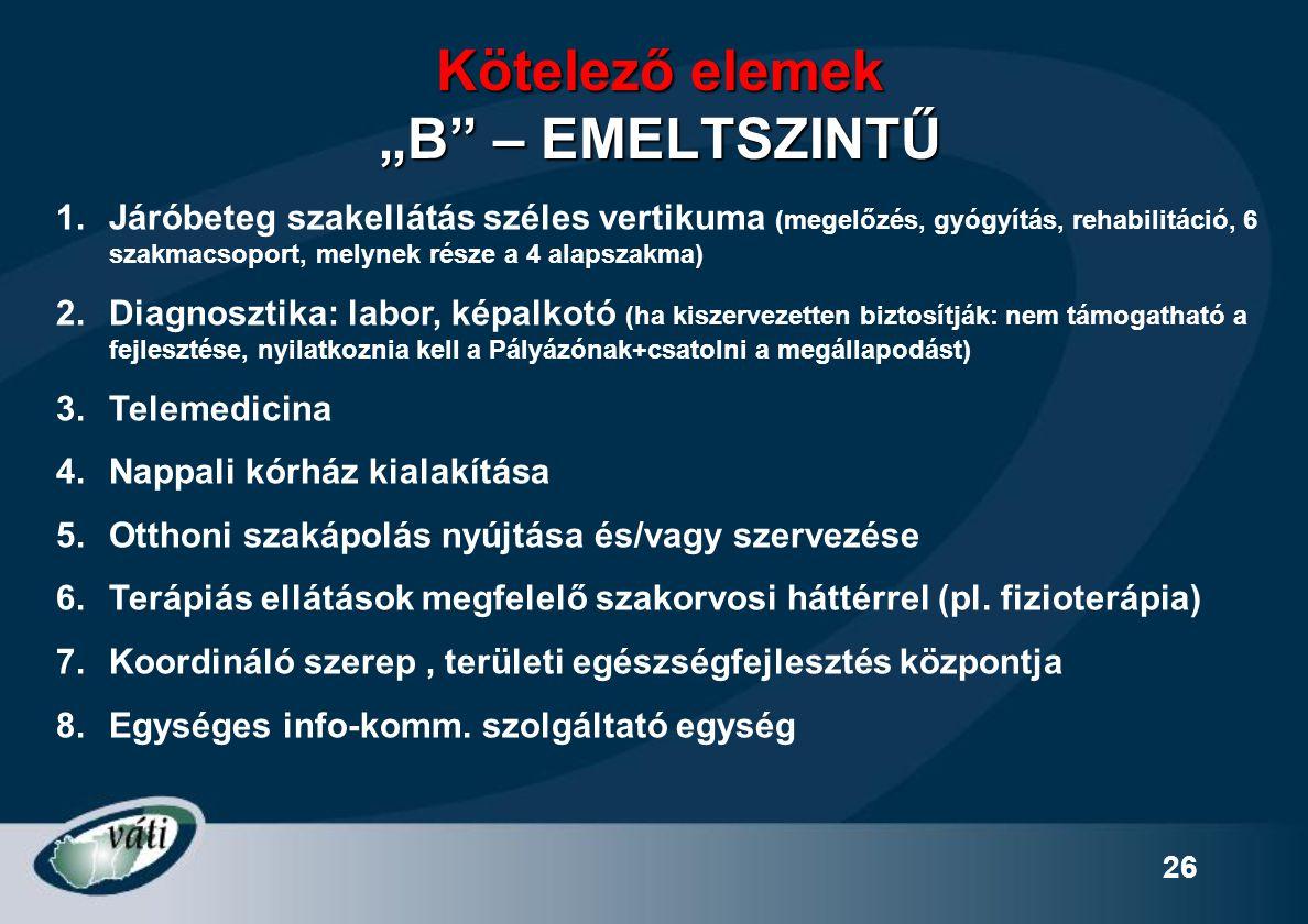 """26 Kötelező elemek """"B"""" – EMELTSZINTŰ 1.Járóbeteg szakellátás széles vertikuma (megelőzés, gyógyítás, rehabilitáció, 6 szakmacsoport, melynek része a 4"""