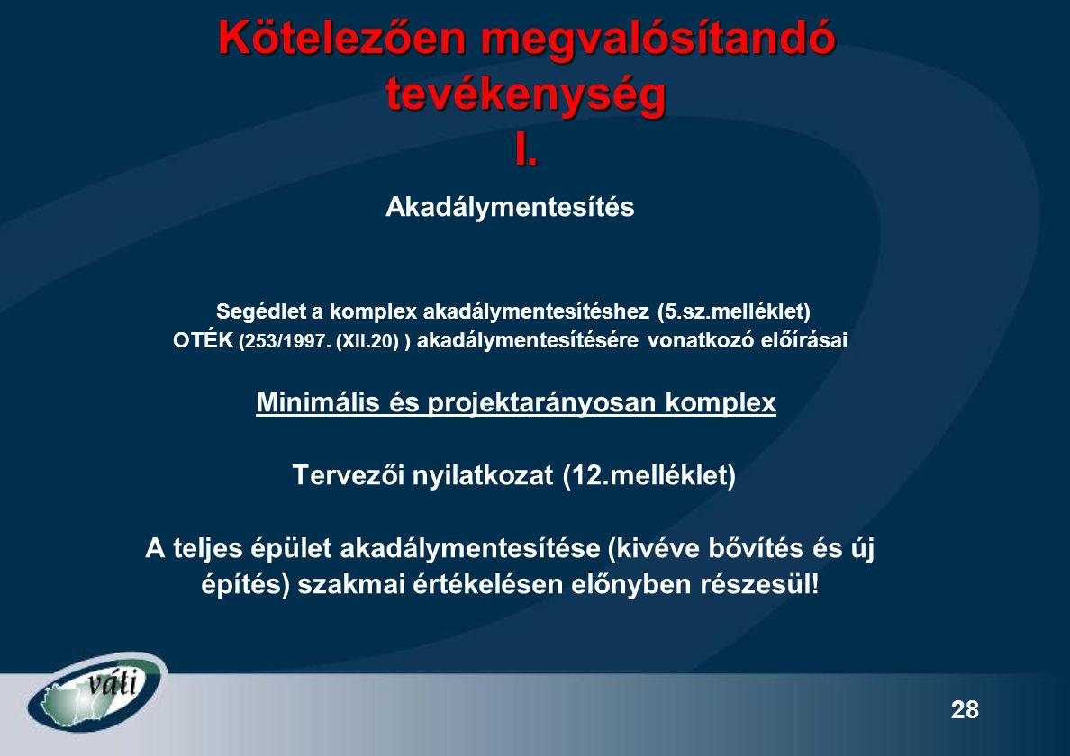 28 Kötelezően megvalósítandó tevékenység I. Akadálymentesítés Segédlet a komplex akadálymentesítéshez (5.sz.melléklet) OTÉK (253/1997. (XII.20) ) akad