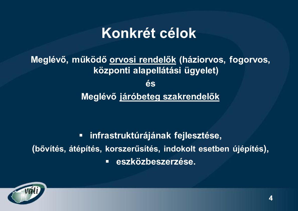 """15 Támogatható tevékenységek """"A - Alapellátás Eszközbeszerzés  A 60/2006 ESZCSM rendeletben foglalt minimumfeltételeknek megfelelő eszköz, gép, berendezés, műszer  Emelt szintű definitív ellátáshoz szükséges eszköz, gép, berendezés, műszer (OEP szerződésben engedélyezett)  Alapellátásban használatos sürgősségi ellátás eszközei (kompetens alkalmazott!)  Ápolási eszközök, stb.;  Alapellátáshoz szükséges IT fejlesztés (hardver, szoftver)  Egyéb, infrastruktúrához kapcsolódó eszköz, berendezés, bútorzat"""