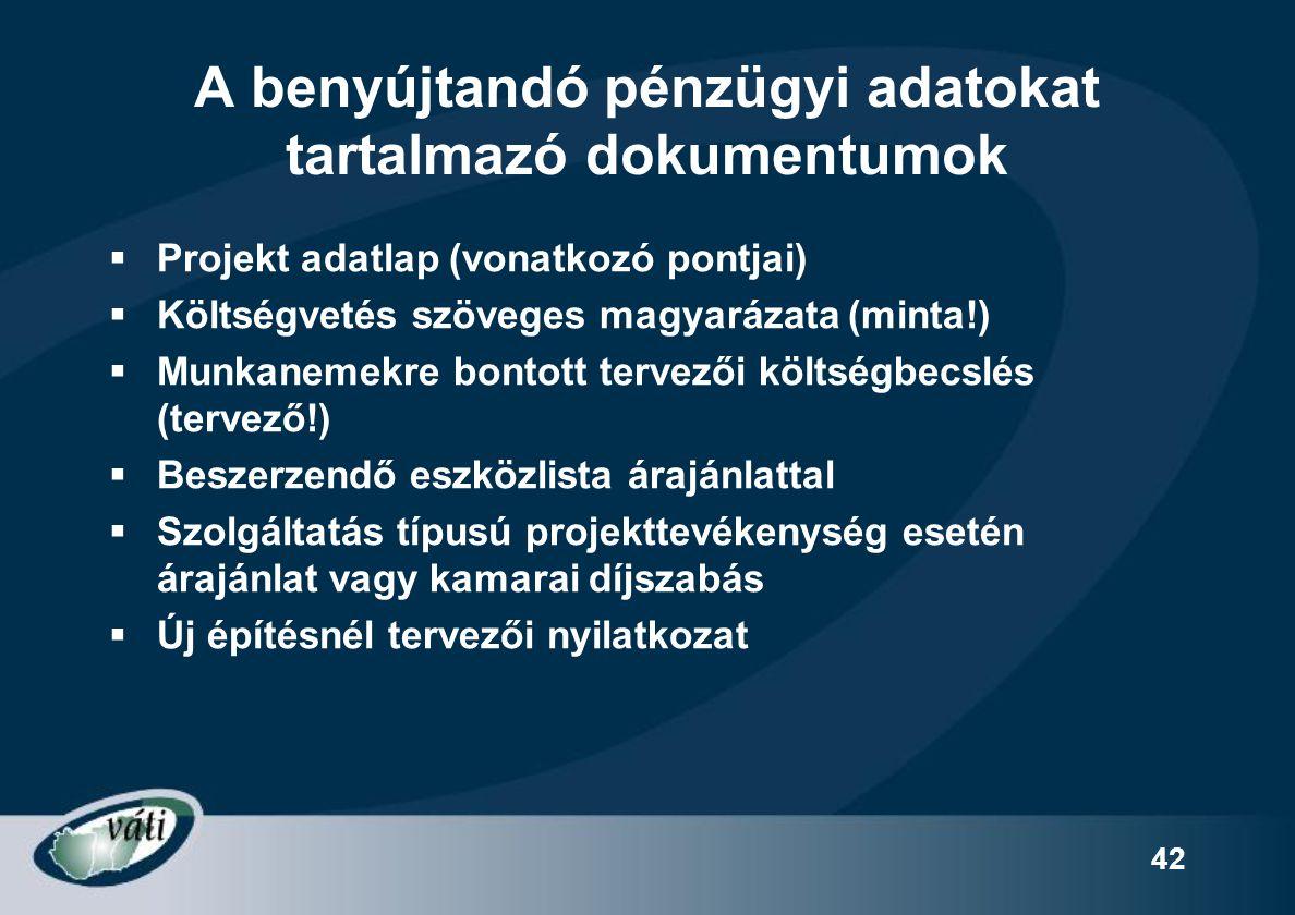 42 A benyújtandó pénzügyi adatokat tartalmazó dokumentumok  Projekt adatlap (vonatkozó pontjai)  Költségvetés szöveges magyarázata (minta!)  Munkan