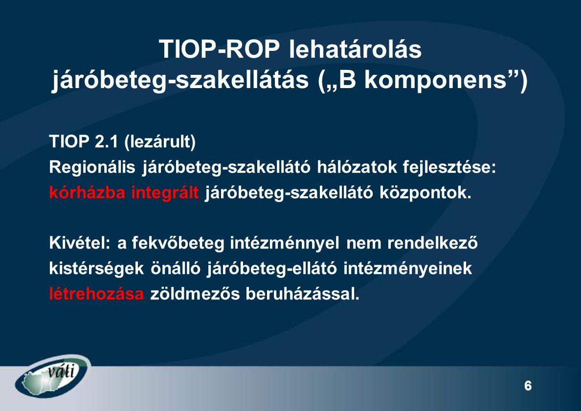 """27 Opcionális elemek """"B – EMELTSZINTŰ  Alapellátási szolgáltatások integrálása  Egynapos ellátás (sebészet, diagnosztika, terápia)  Terápiás ellátások (pl."""