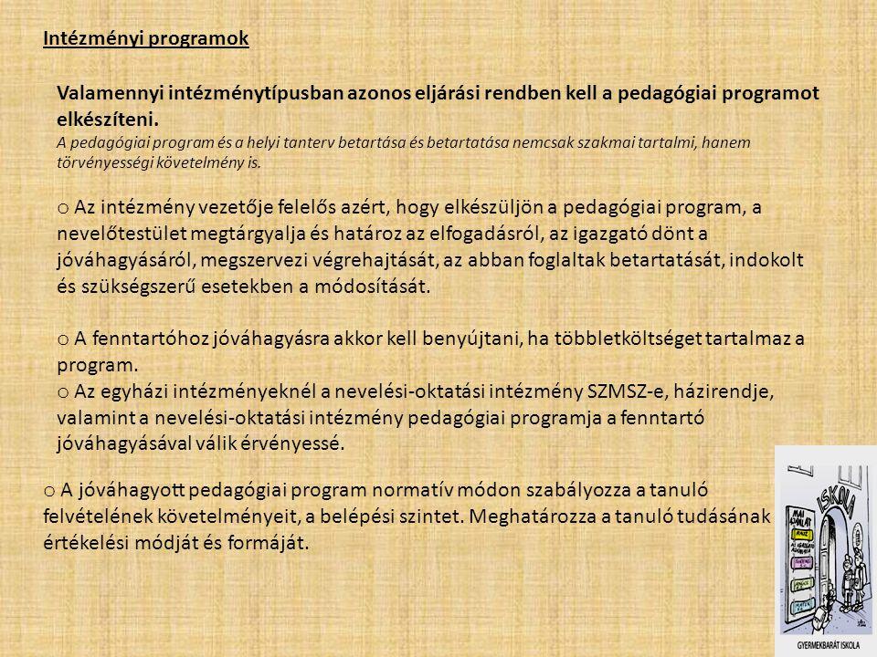 Intézményi programok Valamennyi intézménytípusban azonos eljárási rendben kell a pedagógiai programot elkészíteni. A pedagógiai program és a helyi tan