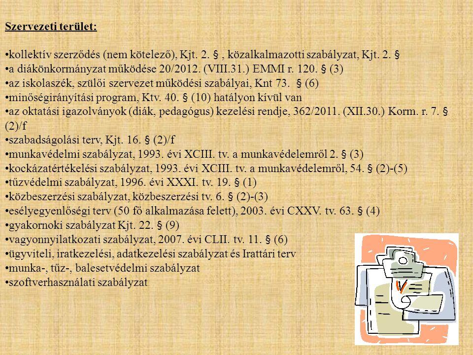 Szervezeti terület: •kollektív szerződés (nem kötelező), Kjt. 2. §, közalkalmazotti szabályzat, Kjt. 2. § •a diákönkormányzat működése 20/2012. (VIII.