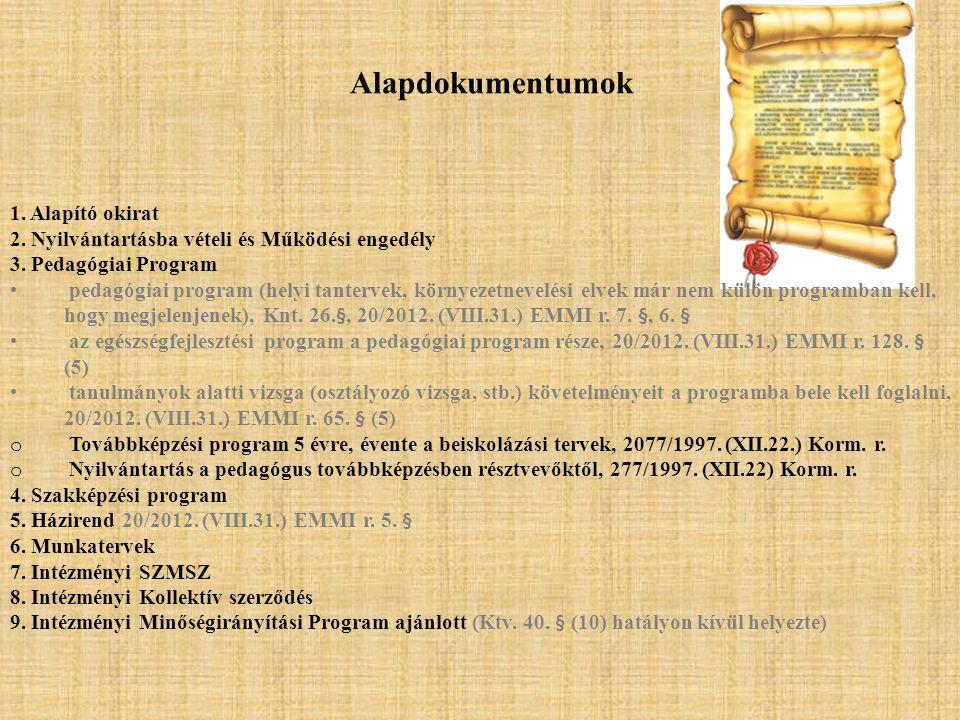Alapdokumentumok 1. Alapító okirat 2. Nyilvántartásba vételi és Működési engedély 3. Pedagógiai Program • pedagógiai program (helyi tantervek, környez