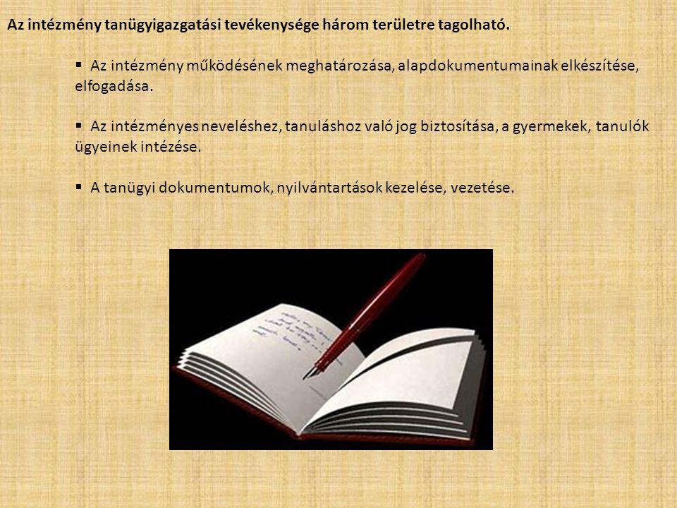 Az intézmény tanügyigazgatási tevékenysége három területre tagolható.  Az intézmény működésének meghatározása, alapdokumentumainak elkészítése, elfog