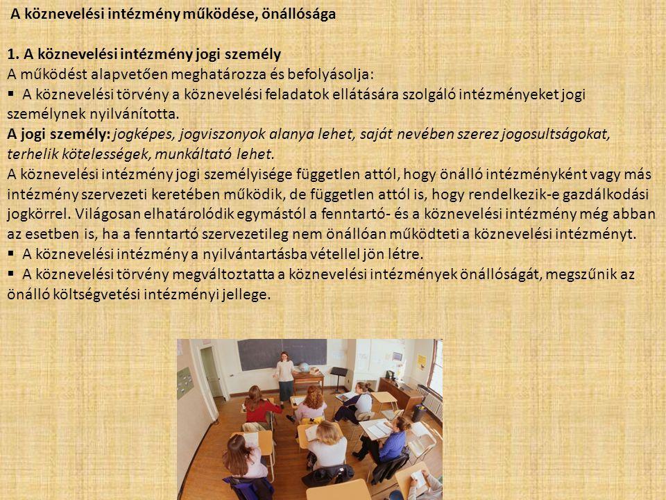 A köznevelési intézmény működése, önállósága 1. A köznevelési intézmény jogi személy A működést alapvetően meghatározza és befolyásolja:  A köznevelé