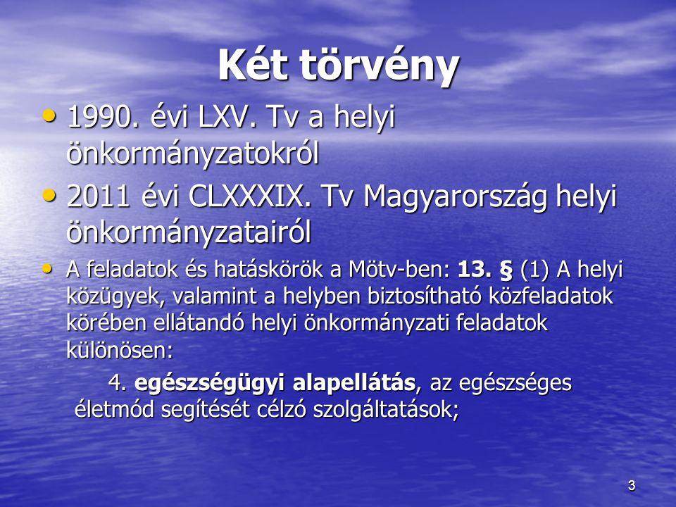 Két törvény • 1990. évi LXV. Tv a helyi önkormányzatokról • 2011 évi CLXXXIX. Tv Magyarország helyi önkormányzatairól • A feladatok és hatáskörök a Mö