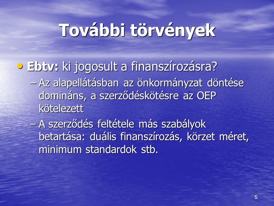 További törvények • Ebtv: ki jogosult a finanszírozásra? –Az alapellátásban az önkormányzat döntése domináns, a szerződéskötésre az OEP kötelezett –A