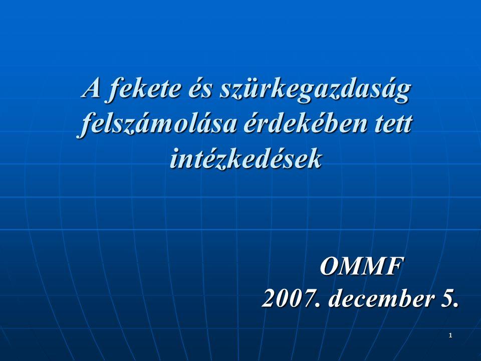 1 A fekete és szürkegazdaság felszámolása érdekében tett intézkedések OMMF 2007. december 5.