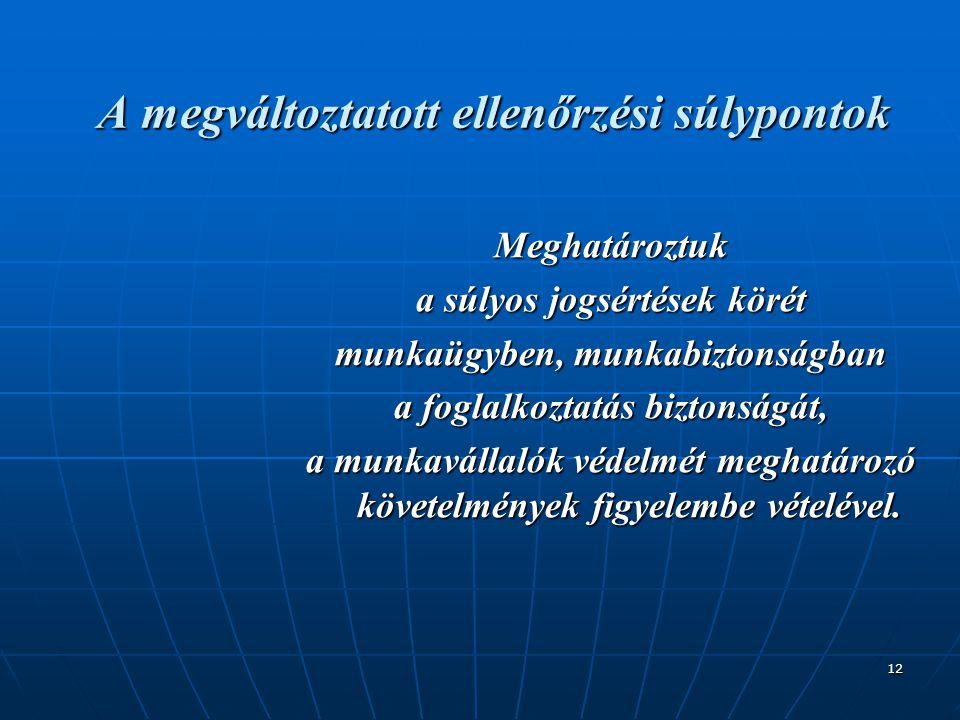 12 A megváltoztatott ellenőrzési súlypontok Meghatároztuk a súlyos jogsértések körét munkaügyben, munkabiztonságban a foglalkoztatás biztonságát, a mu