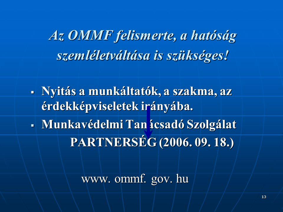 13 Az OMMF felismerte, a hatóság szemléletváltása is szükséges!  Nyitás a munkáltatók, a szakma, az érdekképviseletek irányába.  Munkavédelmi Tanács