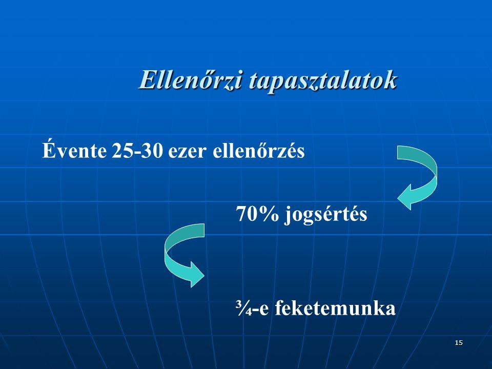 15 Ellenőrzi tapasztalatok Évente 25-30 ezer ellenőrzés 70% jogsértés ¾-e feketemunka
