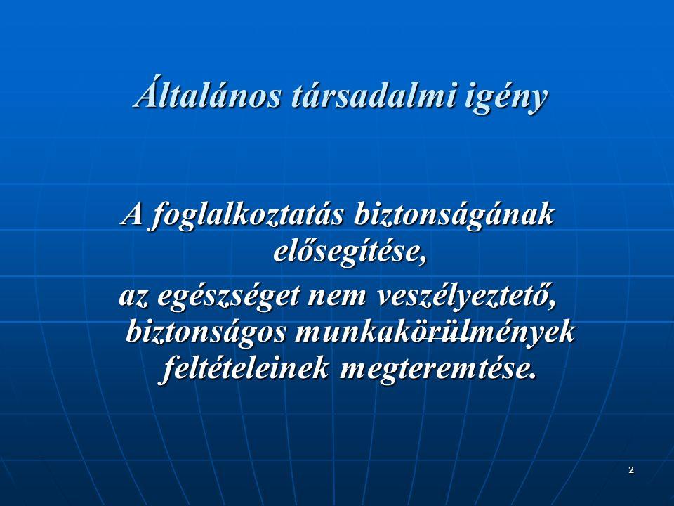 2 Általános társadalmi igény A foglalkoztatás biztonságának elősegítése, az egészséget nem veszélyeztető, biztonságos munkakörülmények feltételeinek m