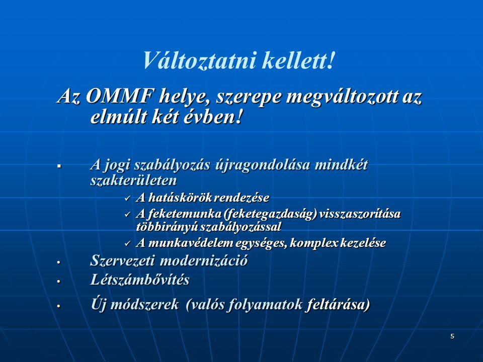 5 Változtatni kellett! Az OMMF helye, szerepe megváltozott az elmúlt két évben!  A jogi szabályozás újragondolása mindkét szakterületen  A hatáskörö