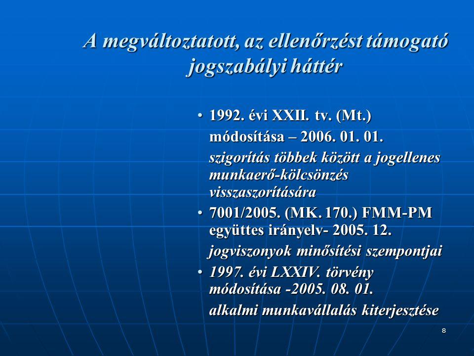 8 A megváltoztatott, az ellenőrzést támogató jogszabályi háttér •1992. évi XXII. tv. (Mt.) módosítása – 2006. 01. 01. szigorítás többek között a jogel