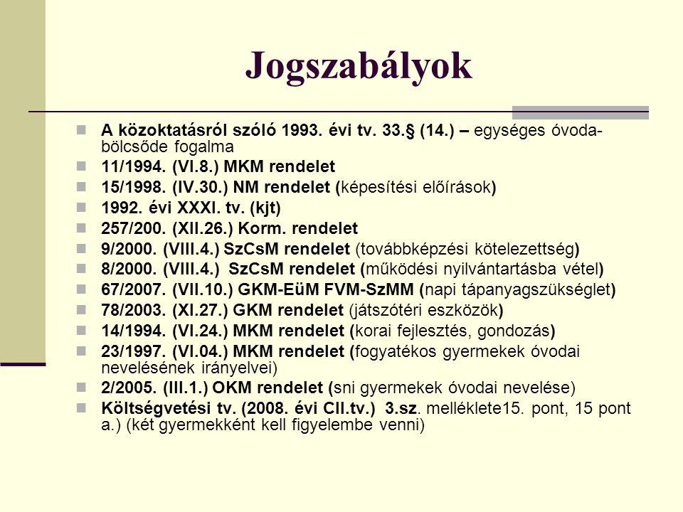 Jogszabályok  A közoktatásról szóló 1993. évi tv. 33.§ (14.) – egységes óvoda- bölcsőde fogalma  11/1994. (VI.8.) MKM rendelet  15/1998. (IV.30.) N