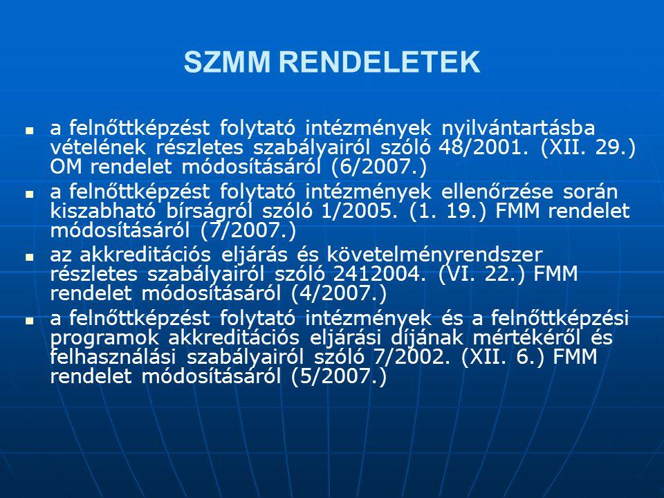 SZMM RENDELETEK   a felnőttképzést folytató intézmények nyilvántartásba vételének részletes szabályairól szóló 48/2001.