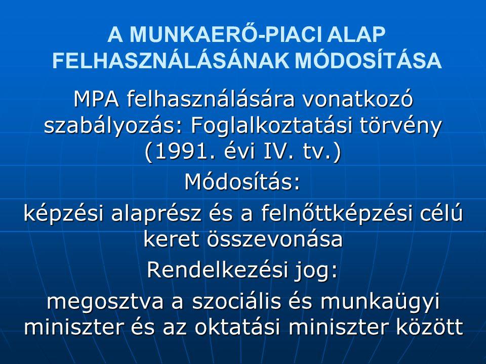 A MUNKAERŐ-PIACI ALAP FELHASZNÁLÁSÁNAK MÓDOSÍTÁSA MPA felhasználására vonatkozó szabályozás: Foglalkoztatási törvény (1991.