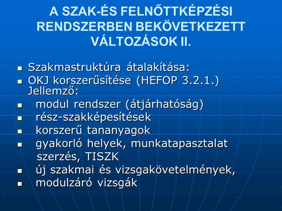 A SZAK-ÉS FELNŐTTKÉPZÉSI RENDSZERBEN BEKÖVETKEZETT VÁLTOZÁSOK II.