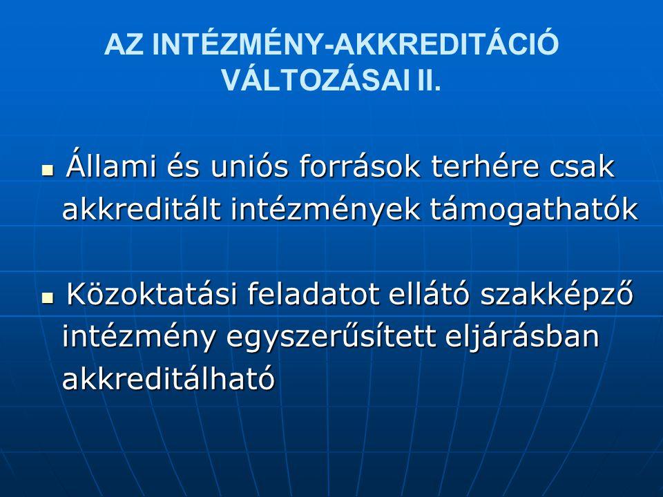 AZ INTÉZMÉNY-AKKREDITÁCIÓ VÁLTOZÁSAI II.