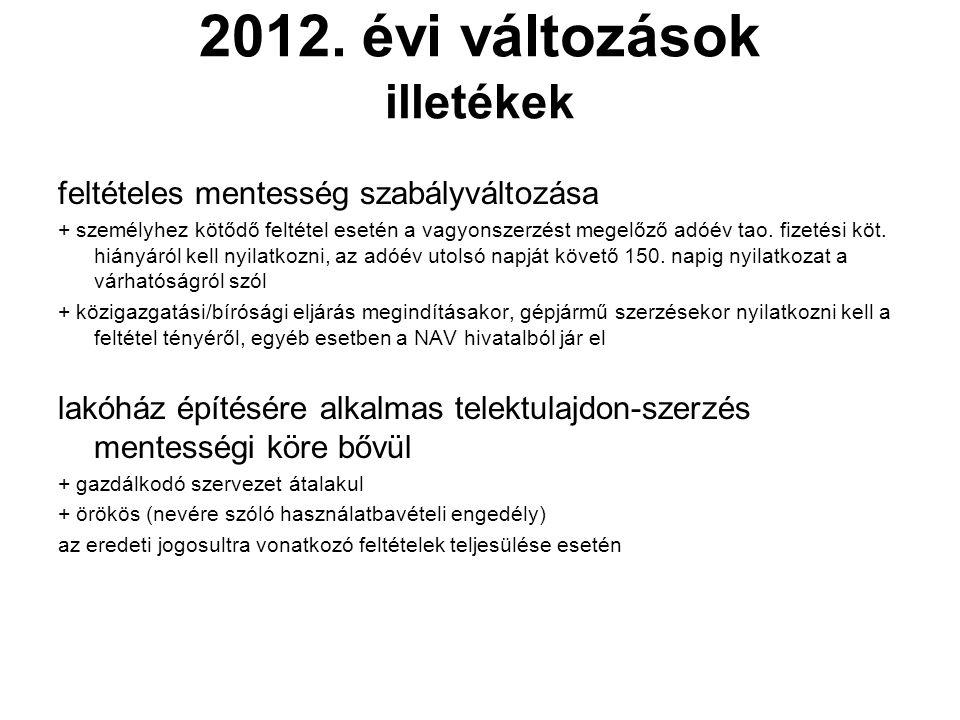 2012. évi változások illetékek feltételes mentesség szabályváltozása + személyhez kötődő feltétel esetén a vagyonszerzést megelőző adóév tao. fizetési