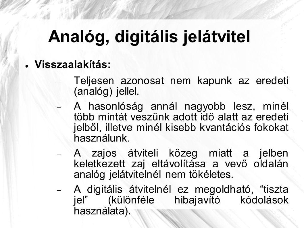 Analóg, digitális jelátvitel  Visszaalakítás:  Teljesen azonosat nem kapunk az eredeti (analóg) jellel.  A hasonlóság annál nagyobb lesz, minél töb