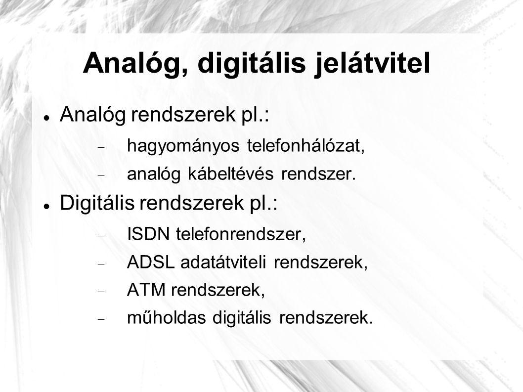 Analóg, digitális jelátvitel  Analóg rendszerek pl.:  hagyományos telefonhálózat,  analóg kábeltévés rendszer.  Digitális rendszerek pl.:  ISDN t