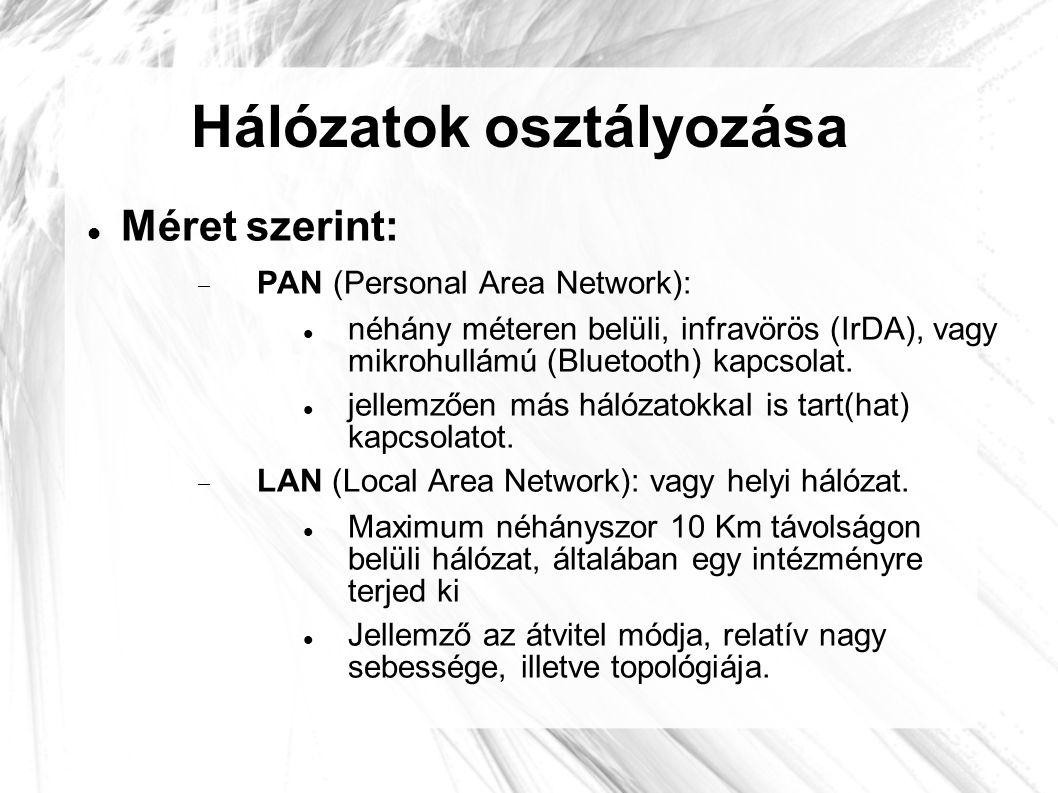 Hálózatok osztályozása  Méret szerint:  PAN (Personal Area Network):  néhány méteren belüli, infravörös (IrDA), vagy mikrohullámú (Bluetooth) kapcs