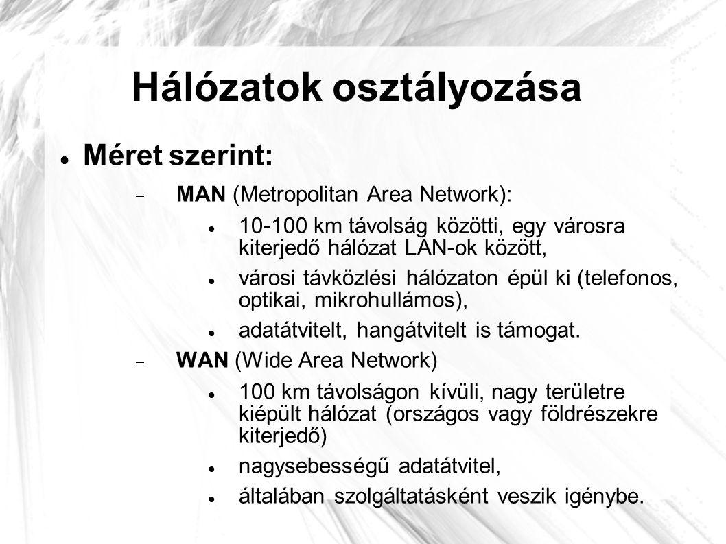 Hálózatok osztályozása  Méret szerint:  MAN (Metropolitan Area Network):  10-100 km távolság közötti, egy városra kiterjedő hálózat LAN-ok között,