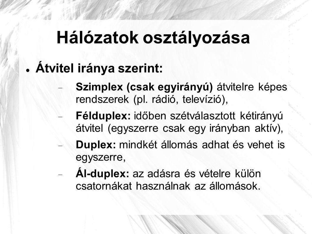 Hálózatok osztályozása  Átvitel iránya szerint:  Szimplex (csak egyirányú) átvitelre képes rendszerek (pl. rádió, televízió),  Félduplex: időben sz