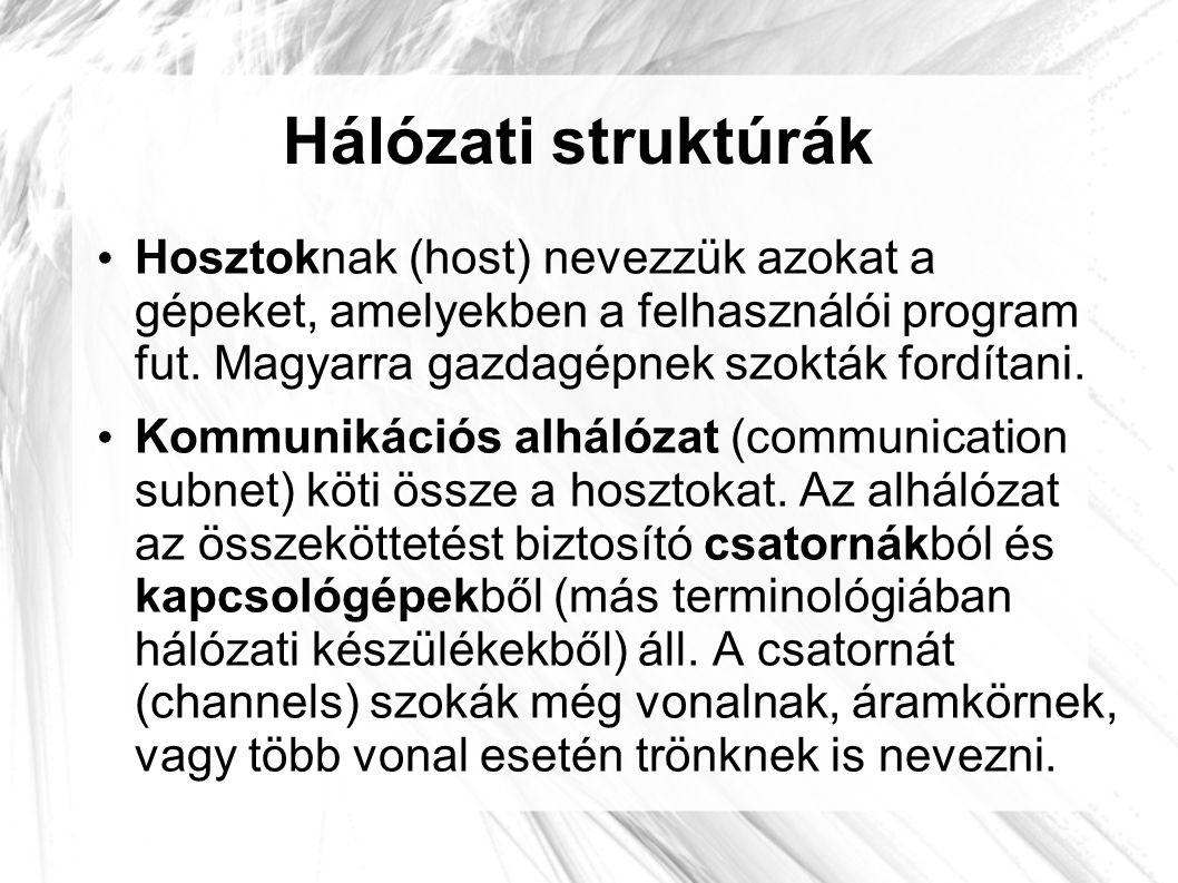 Hálózati struktúrák • Hosztoknak (host) nevezzük azokat a gépeket, amelyekben a felhasználói program fut. Magyarra gazdagépnek szokták fordítani. • Ko