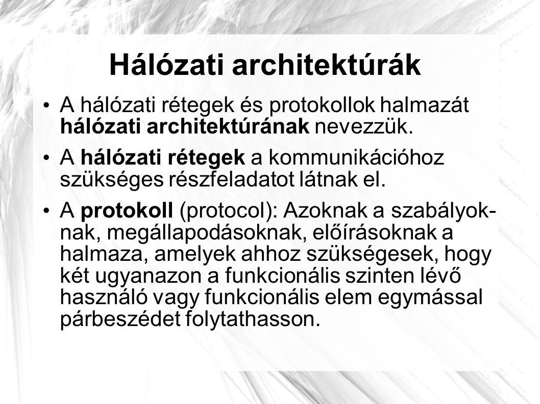 Hálózati architektúrák • A hálózati rétegek és protokollok halmazát hálózati architektúrának nevezzük. • A hálózati rétegek a kommunikációhoz szüksége