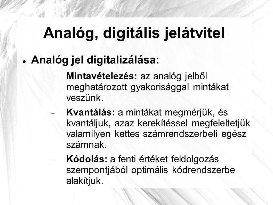 Analóg, digitális jelátvitel  Analóg jel digitalizálása:  Mintavételezés: az analóg jelből meghatározott gyakorisággal mintákat veszünk.  Kvantálás