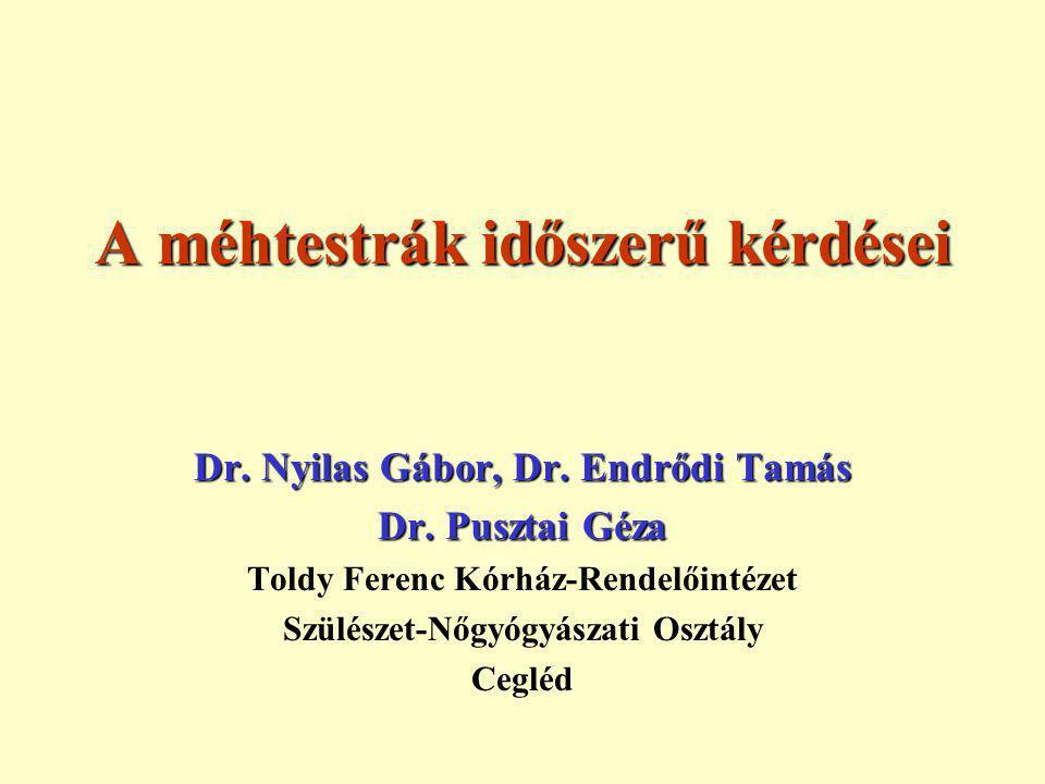 A méhtestrák időszerű kérdései Dr.Nyilas Gábor, Dr.