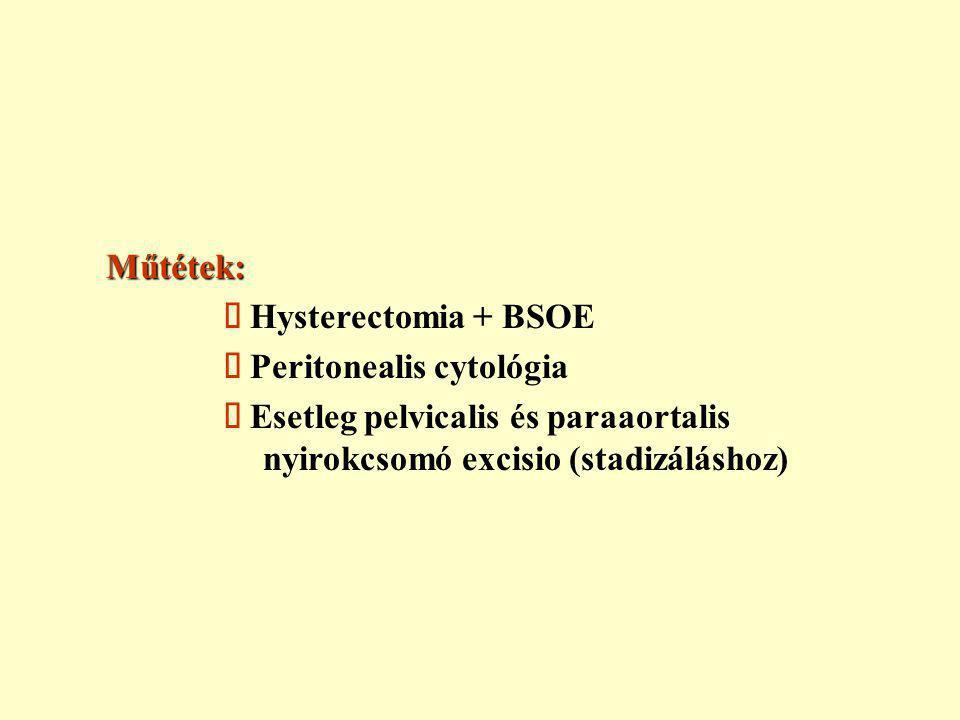 Műtétek: ä Hysterectomia + BSOE ä Peritonealis cytológia ä Esetleg pelvicalis és paraaortalis nyirokcsomó excisio (stadizáláshoz)